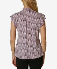 Short Sleeve Blouse with Smocked Neck - Arrow Geo Lilas - Back