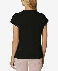 Short Sleeve Dolman Blouse - Black - Back