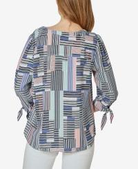 3/4 Sleeve Tie Cuff Blouse - Tiffany Blocked Stripe - Back