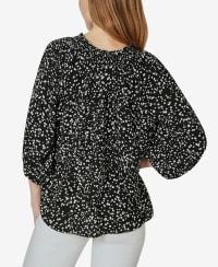 On or Off the Shoulder 3/4 Sleeve Peasant Top - Sprayed Dots Black - Back