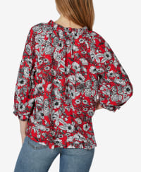 3/4 Sleeve Button Up with Ruffle Neck Top - Delilah Floral Chinese Red - Back