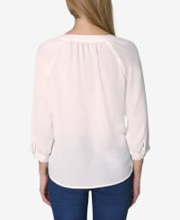 3/4 Sleeve Button Front Blouse - Gardenia - Back