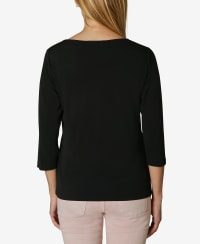 3/4 Sleeve Asymmetrical Trim Blouse - Black - Back