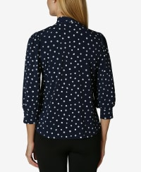 Bow Tie Neck Blouse - Stamped Dot Peacoat - Back