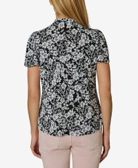 Flutter Sleeve with Bow Tie Neck - Summer Garden Black and White - Back