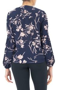 Zac & Rachel Button Front Blouse - Navy Blazer / Pale Blush - Back