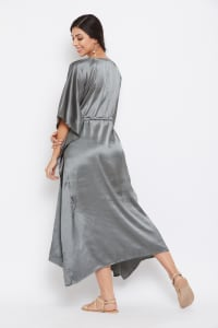 Long Satin Nightwear Kaftan Maxi Dress - Plus - Castlerock Gray - Back