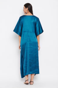 Long Satin Nightwear Kaftan Maxi Dress - Plus - Corsair Blue - Back