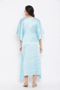 Long Satin Nightwear Kaftan Maxi Dress - Plus - Pastel Blue - Back