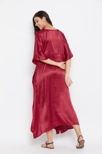 Long Satin Nightwear Kaftan Maxi Dress - Plus - Jester Red - Back