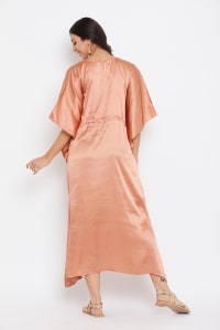 Long Satin Nightwear Kaftan Maxi Dress - Plus - Terracotta - Back