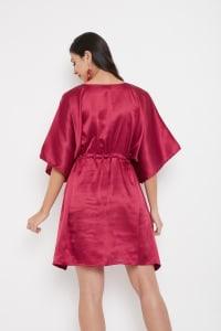 Short Adjustable Satin Tunic Nightwear Dress - Plus - Back