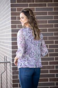 Roz & Ali Lavender Chain Trim Bubble Hem - Back