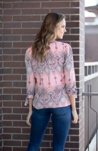 Roz & Ali Coral Diamond Print Bubble Hem Blouse - Misses - Coral - Back