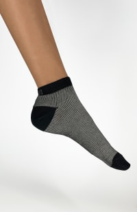 Italian Micro Rib Ankle Socks - Black - Back