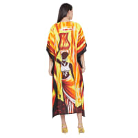 Loose Polyester Kimono Kaftan Dress - Plus - Yellow / Red - Back