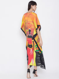 Loose Polyester Kimono Kaftan Dress - Plus - Orange / Multi - Back