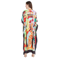 Loose Polyester Kimono Kaftan Dress - Plus - Red / Multi - Back