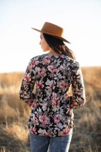 Floral 2 Pocket Side Tie Blouse - Misses - Back