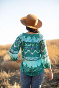Placed Print Peasant Blouse - Misses - Back