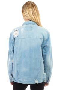 26 International Oversized Destructed Denim Jacket - Back