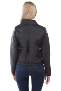 Vegan Leather Jacket with Quilted Detail and Leopard Lining - Back