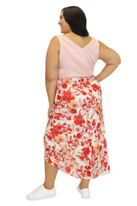 Maree Pour Toi Floral Print High Low Skirt - Plus - Back