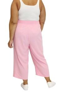 Maree Pour Toi Wide Leg Linen Crop Pant - Plus - Back