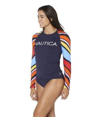 Nautica Long Sleeve Swimsuit Rash Guard - Blue - Back
