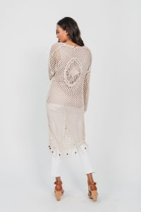 One world Long Sleeve Crochet Duster With Beads - Plus - Back