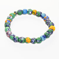 Dell Arte By Jean Claude Krobo Stretchable Recycled Glass Hand Painted Beads Bracelet - Back