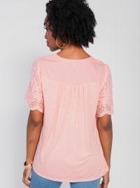 Oneworld Short Sleeve Split Neck With Crochet Lace Boarder Top - Plus - Back