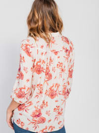 One World 3/4 Bubble Sleeve Peasant Top - Plus - Back