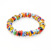 Dell Arte By Jean Claude Krobo Colorful Paradise Recycled Glass Bead Bracelet - Back