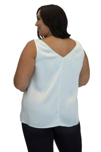 Maree Pour Toi Double V-Neck Silk Tank Top - Plus - Back