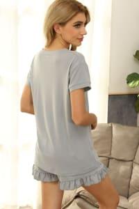 Short Sleeve Top and Drawstring Short Lounge Set - Back