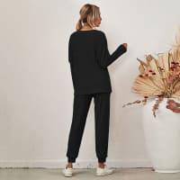 Lounge Long Sleeve Draw String Pant Set - Back