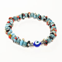 Dell Arte by Jean Claude Krobo Hand Painted Recycled Glass and Czech Glass Beads Mix Bracelet - Back