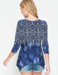 Westport Tie Dye Mix Media Print Top - Misses - Back