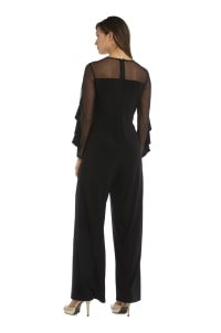 Long-Sleeved with Sheer Panels and Ruffles Jumpsuit - Petite - Back