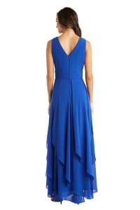 Long Sleeveless Neck Matte Chiffon Dress - Petite - Back