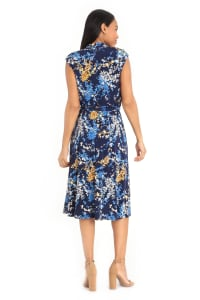 Madeline Cap Sleeve Wrap Midi Dress with Tie Waist Dress - Petite - Back