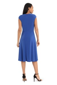 Jaqueline Extended Cap Sleeve Midi Fit and Flare with Side Tie Dress - Petite - Back
