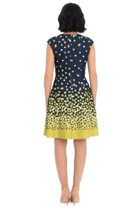 Cindy Ombre Dots Fit and Flare Dress - Petite - Back