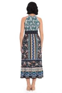 Darby Floral Stripe Halter Jersey Maxi Dress - Petite - Back