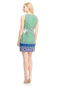 Cecilia Flower Tile Cotton Shift Dress - Petite - Back