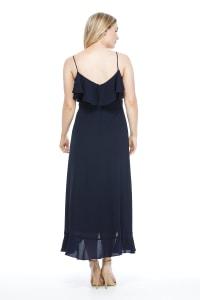 Lara Cold Shoulder Ruffle Detail  Maxi Dress - Petite - Back