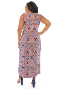 Gabriella Slits Tile Print Tank Maxi Dress - Plus - Back