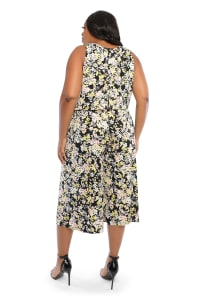 Claudia Cropped Blossom Bunch Jumpsuit - Plus - Back