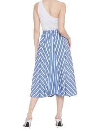 High Waist A-line Elastic Blue Midi Casual Beach Drawstring Skirt - Back